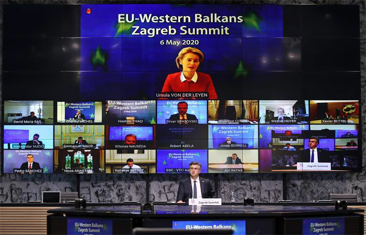 Videokonferencia počas summitu v Záhrebe. Zdroj: Twitter, účet chorvátskeho predsedníctva v Rade EÚ.
